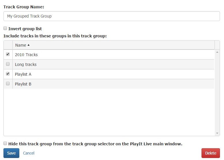 Editing grouped track group.