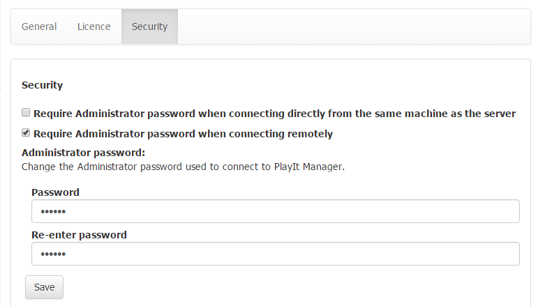 Security settings.